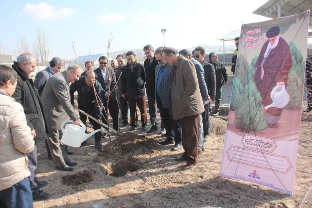 سنت پسندیده درختکاری با کاشت چندین اصله نهال در شرکت گاز استان آذربایجان شرقی